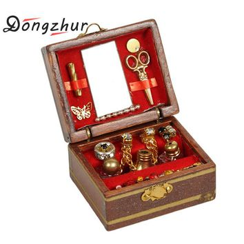 Dongzhur Mini Jewelry Box Model Dollhouse Miniatures 1:12 Accessories Children DIY Miniatures Doll House Furniture Toy House