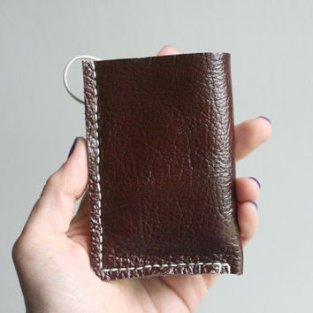 Genuine Leather Maroon Wallet, Leather Wallet, Upcycled Genuine Leather, Leather Card Holder, Mens Wallet, Wallet with Elastic,