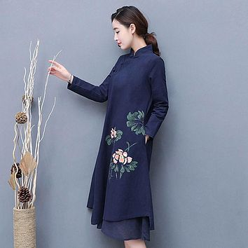 Mferlier Woman Autumn Floral Print Dress Mandarin Collar Oblique Plate Buckle Long Sleeve Irregular Hem Vintage Dress