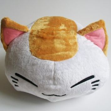 "15"" JUMBO Size Cute Nemuneko Cat Kitty Plush Doll ~White with Gold Ears~"