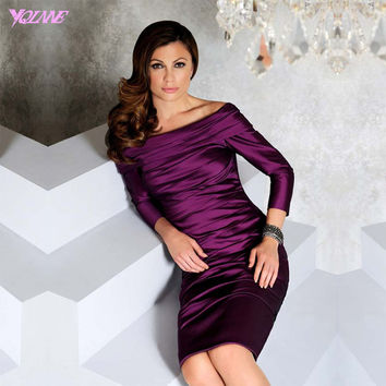 Fashion Purple Off the Shoulder Cocktail Dresses Full Sleeve Tea-Length Formal Women Evening GownShining Stain Back Zipper