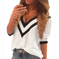 New 2016 Blusas Spring Summer Sexy Deep V Neck Tops Women Casual Splicing Blouses Ladies Loose 3/4 Sleeve Shirts Plus Size