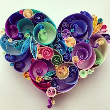 """Quilled paper art: """"love is all around"""""""