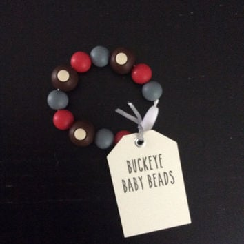 "Ohio State Football Baby Teething Bracelet. 8"" Buckeye Bracelet for Mom and chewable beads for Baby. Non-Toxic & BPA Free. Baby Shower Gift."