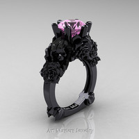 Love and Sorrow 14K Black Gold 3.0 Ct Light Pink Sapphire Skull and Rose Solitaire Engagement Ring R713-14KBGLPS