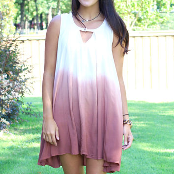 Keyhole Ombre Tunic Tank Dress {Rose+Taupe}
