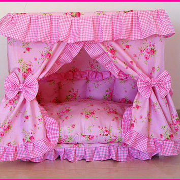 HM21 Gorgeous Handmade Sweet Pink Flower Dog Pet Puppy Cat Puppy Bed House Dog Kennel Made to Order