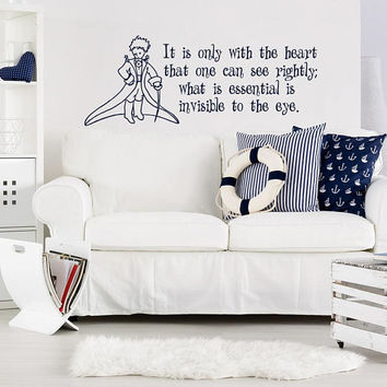Nursery Wall Decal It Is Only With The Heart Little Prince Quote - Little Prince Vinyl Sticker, Little Prince Nursery Art Wall Decal K68