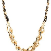 Gold Faux Leather & Mixed Chain Necklace by Charlotte Russe