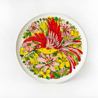 Hummingbird Flowers Plate Decorative Tray Vibrant Colors Wall Decor