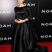 Oscar Emma Watson Black full sleeves long elegantred carpet dresses backless