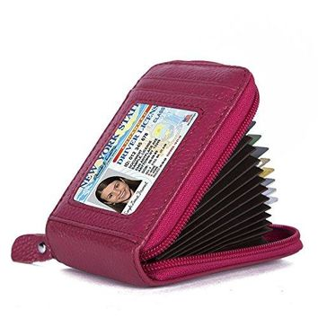 KQueenStar RFID protector Genuine leather wallet for man and women credit Card Holder RoseRed