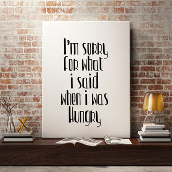 "Funny quote Typography art Kitchen art Kitchen print Kitchen quote ""Hungry"" Typographic print Wall art Home decor Instant Download Word art"