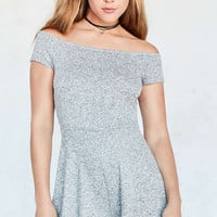 Silence + Noise Cozy Textured Knit Off-The-Shoulder Romper - Urban Outfitters