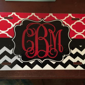 Personalized Chevron/Quatrefoil Print License Plate/Monogram Car Tag