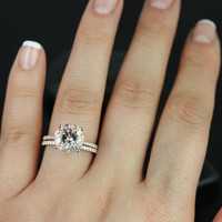 Eloise 14kt Rose Gold Round Morganite and Diamond Wedding Set (Other metals and stone options available)