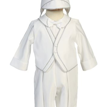 Silver Trim Coverall Satin Christening Outfit w Hat (Baby Boys 3 - 24 months)