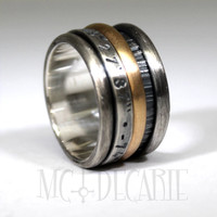 Spinner rng with 10k yellow gold and sterling silver, can be personalized with an engraving inside or outside, wedding ring gold and silver