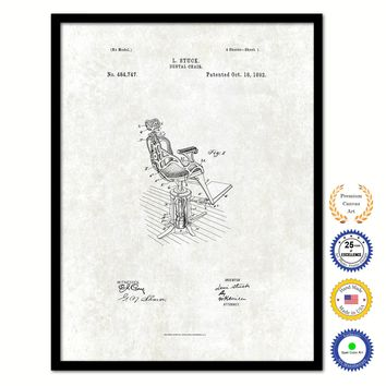 1892 Dentist Dental Chair Vintage Patent Artwork Black Framed Canvas Print Home Office Decor Great for Dentist Orthodontist