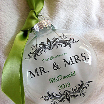 MR & MRS Custom First Christmas Wedding Holiday Glass Ornament Red Green Blue Keepsake Large Over 3 Inches Like Thin Vellum or Etched Glass