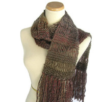 Knit Scarf, Portrait Scarf, Hand Knit Scarf, Multicolor Scarf, Fall Colors, Christmas In July, Brown Red, Taupe,