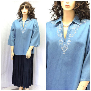 Vintage embroidered denim tunic top L XL 1X boho denim tunic top jean  blouse plus size SunnyBohoVintage