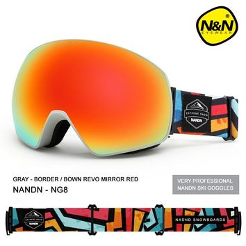 NANDN Ski goggles men and women Double layer Anti-fog Large spherical field lens Windproof Ski glasses Skiing Eyewear NG8