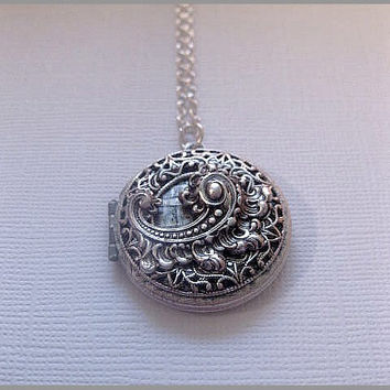 Fancy Silver Locket Necklace - Lace Locket - Design Locket - Custom Chain Length