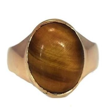14k Men's Tiger's Eye Ring Vintage Mid Century Gold Ring