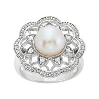 Freshwater Cultured Pearl & 1/10 Carat T.W. Diamond Sterling Silver Flower Ring (White)