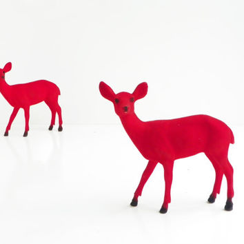 1 Avlb Mid Century Red Christmas Flocked Deer