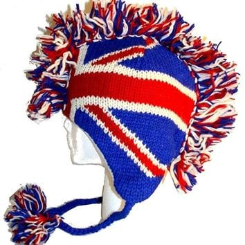 Mohawk Agan Traders Wool Funky American Canada UK Flag Hat Beanie ~ Soft Warm Ear Flap Hand Crochet Fleece Knit Hat ~ Nepal