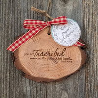 Scripture Wood Ornament, Rustic Christmas Ornament, Woodland Ornaments, White Pine Wood Ornament, Scripture Gift, Cabin Ornaments