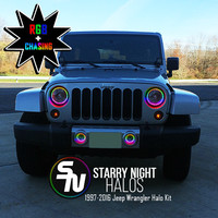 1997-2016 Jeep Wrangler RGB + Chasing Starry Night Halo Kit (Pair)