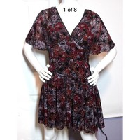 Free People Purple Black Floral Mini Dress Sz 6