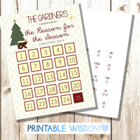 Printable Advent Calendar Bible Verses Scripture, Christmas religious advents Christian personalized custom, DIY