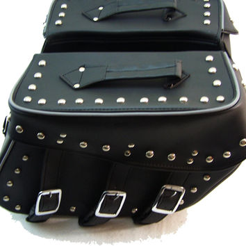 Motorcycle Genuine Cowhide Leather Saddlebags for Harley Davidson Models Night reflective