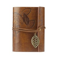 Towallmark(TM)Vintage Leaf Leather Cover Loose Leaf Blank Notebook Journal Diary Gift (Brown)