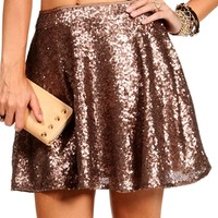 Bronze Sequin Skater Skirt