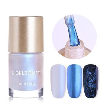 NICOLE DIARY Mermaid Series Nail Stamping Polish 9ml Shell Shimmer Lacquer Shiny Glitter Manicure Nail Art Varnish Vernis Primer