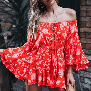 Rosie Girl Off Shoulder Sexy Playsuits Women Big Flare Sleeve Jumpsuits Party Casual Lace Up Romper