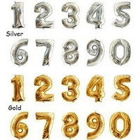 16 Inch Gold Silver Foil Number Balloons Birthday Wedding Party Decoration HOT SELL
