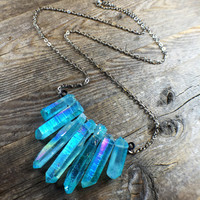 Mermaid Aura Quartz Crystal Necklace Aqua Aura Crystal Healing Crystals and Stones Statement Piece Rainbow Bohemian Boho Gypsy Yoga Jewelry