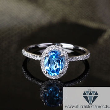 Oval Cut Topaz Diamond Pave Halo Engagement or Cocktail Ring