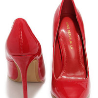 Aisle Be Waiting Red Patent Pointed Pumps