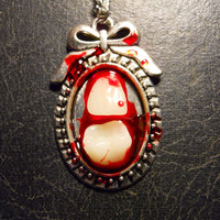 Bloody Teeth Acrylic Vintage Human Tooth Red Cameo Necklace