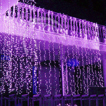 300 led 9 ft x 9 ft Window Curtain Lights String Fairy Light Wedding Party Home Garden Decorations Purple Pink Blue