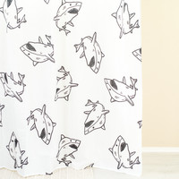 Shark Black & White Shower Curtain