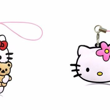 1PCS PVC Cartoon Hello Kitty Lanyard Cute Anime Hanging Ornaments for Cell Phone Backpack Decoration Fashion Charms Strap Gift