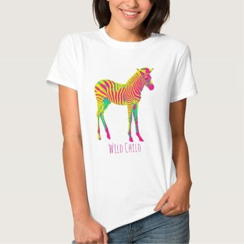 Neon Zebra Baby Animal Wild Child Funky Retro T-Shirt